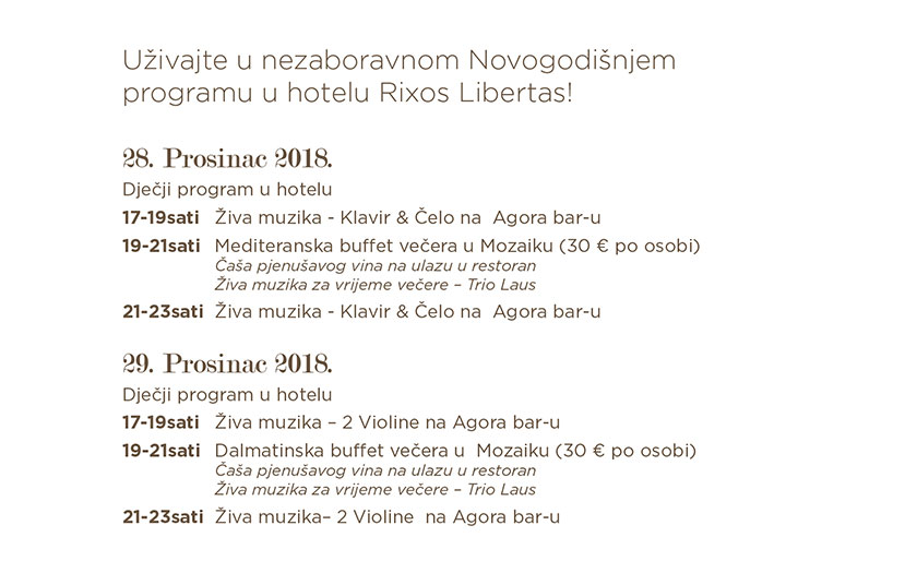 Predstavljanje novogodišnjeg programa Rixos Libertas Hotela