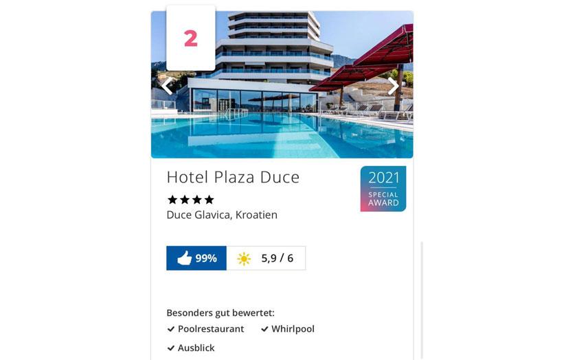 Dva hrvatska hotela osvojila prestižnu Holiday Check Special nagradu