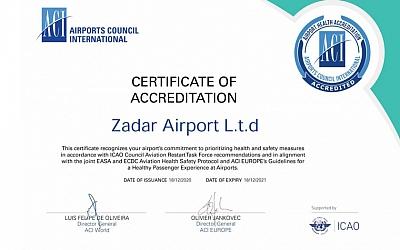Zračna luka Zadar stekla ACI certifikat o zdravstvenoj sigurnosti