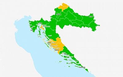 HUT: Na epidemiološkoj karti Hrvatske po novim kriterijima ECDC gotovo sve županije i otoci u zelenom